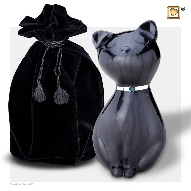 PrincessCat Pet Urn Pearl Midnight and Brushed Pewter with Swarovski P264_v