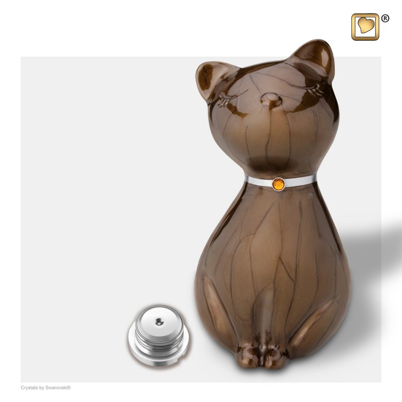 PrincessCat Pet Urn Pearl Bronze and Brushed Pewter with Swarovski P265_a