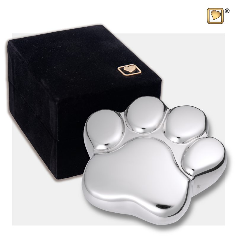 LovePaw Pet Keepsake Urn Polished Silver P670K_v