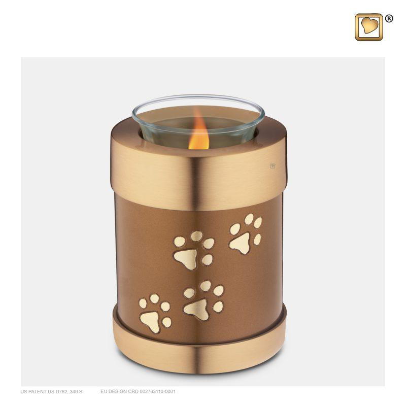 T654 Pet Tealight Urn Bronze & Bru Gold