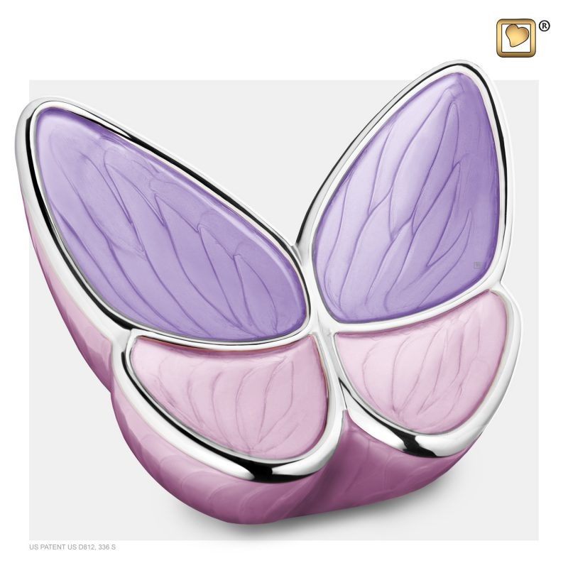 Wings of Hope Adult Urn Pearl Lavender & Polished Silver A1040