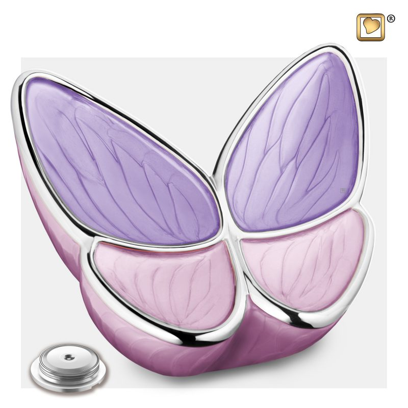 Wings of Hope Adult Urn Pearl Lavender & Polished Silver A1040_c
