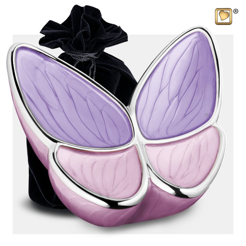 Wings of Hope Adult Urn Pearl Lavender & Polished Silver A1040_v