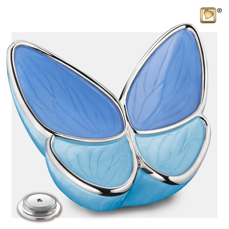 Wings of Hope Adult Urn Peal Blue & Polisher Silver A1041_c