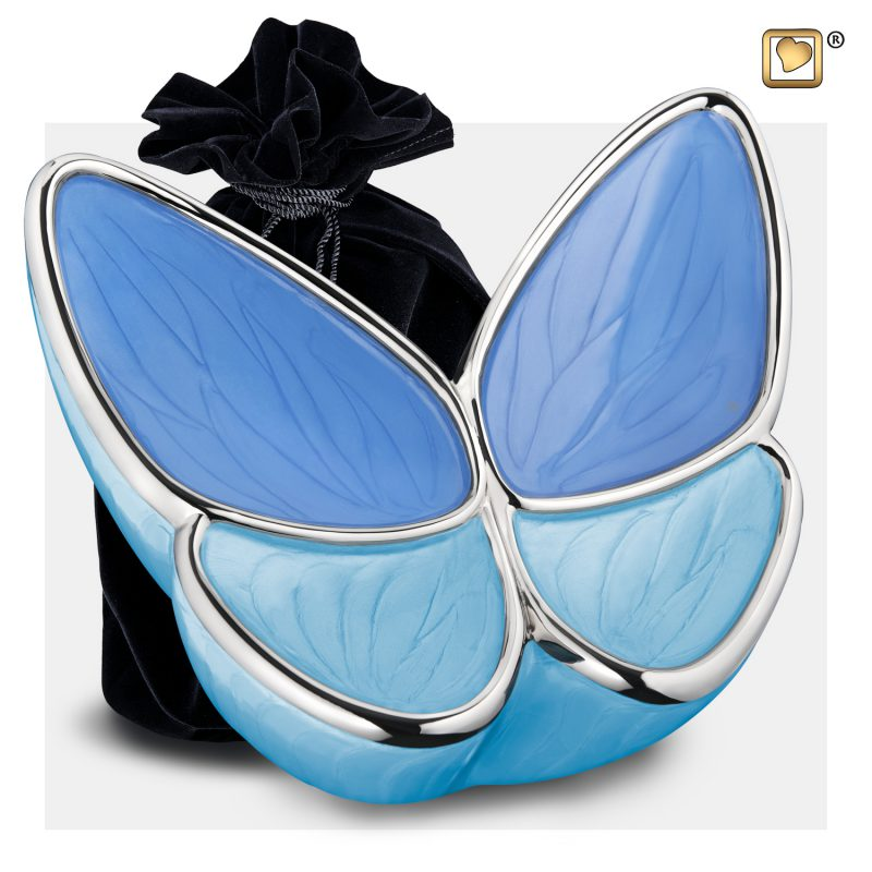 Wings of Hope Adult Urn Peal Blue & Polisher Silver A1041_v