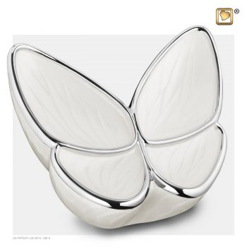 Wings of Hope Adult Urn Pearl White & Polished Silver A1042