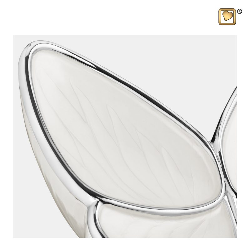 Wings of Hope Adult Urn Pearl White & Polished Silver A1042_a