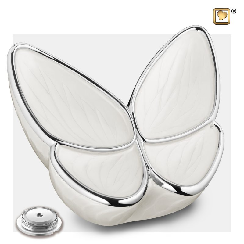 Wings of Hope Adult Urn Pearl White & Polished Silver A1042_c