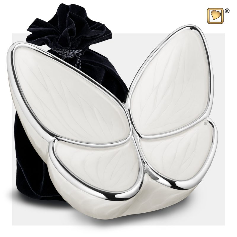 Wings of Hope Adult Urn Pearl White & Polished Silver A1042_v