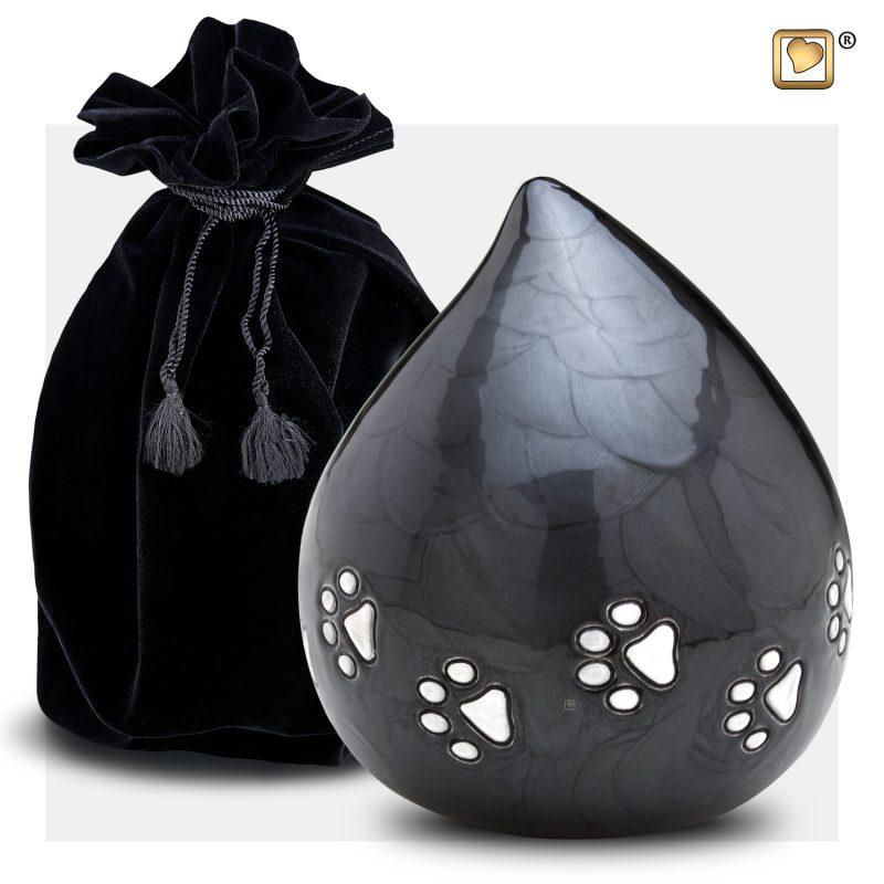 LoveDrop Pet Urn Pearl Midnight & Bru Pewter P633_v