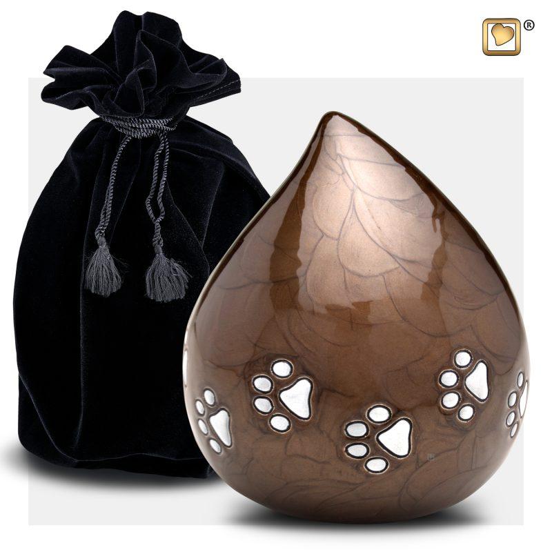 LoveDrop Pet Urn Pearl Bronze & Bru Pewter P634_v