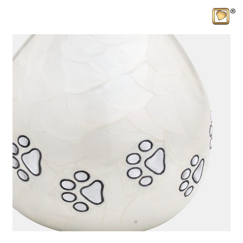 LoveDrop Pet Urn Pearl White & Bru Pewter P635_a